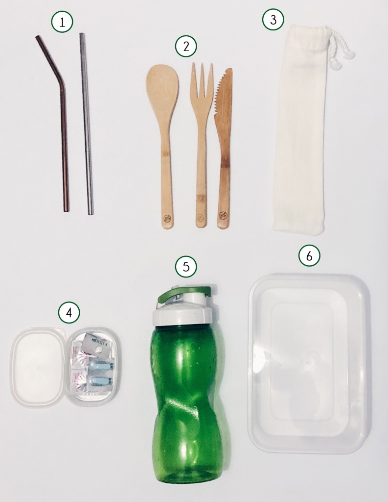 reusable stainless steel straws, bamboo cutlery, canvas pouch, medicine kit, water jug, and reusable food container are just a few of the zero waste swaps I've included in my lunch kit.